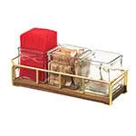 """Cal-Mil 3714-46 Condiment Jar Riser Set w/ (3) 4"""" x 4"""" Jars, Walnut/Brass"""