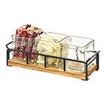 "Cal-Mil 3714-99 Condiment Jar Riser Set w/ (3) 4"" x 4"" Jars, Black/Reclaimed Wood"