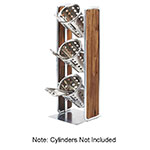 "Cal-Mil 3715-49 19.5"" 3-Section Cylinder Display, Walnut/Chrome"