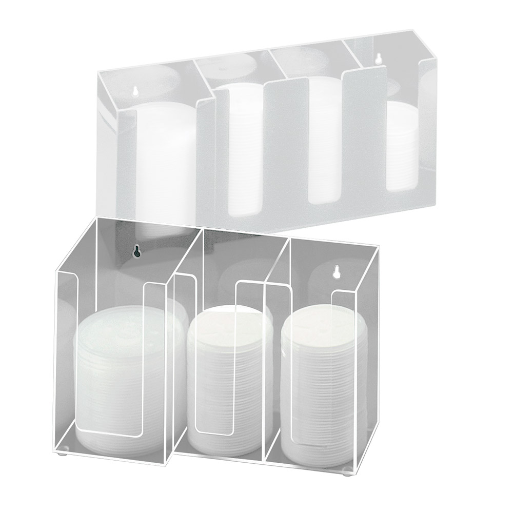 "Cal-Mil 375-12 Lid Organizer w/ (2) 4"" & (1) 5"" Sections, Clear"