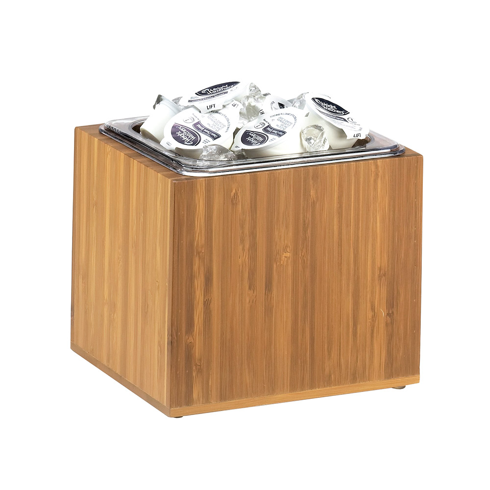 "Cal-Mil 475-6-60 1/6-Size Ice Pan Housing w/ Clear Pan, 6 x 7 x 8"" Deep, Bamboo"