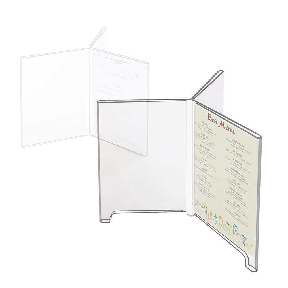 "Cal-Mil 576 Six-Sided Tabletop Menu Card Holder - 4"" x 6"", Footed, Acrylic"