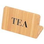 "Cal-Mil 606-4 ""Tea"" Table Sign - 2"" x 3"", Bamboo"