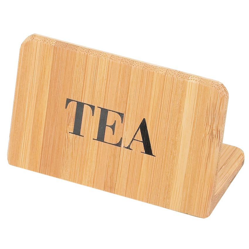 "Cal-Mil 606-4 ""Tea"" Table Sign - 2"" x 3"", Bamboo"