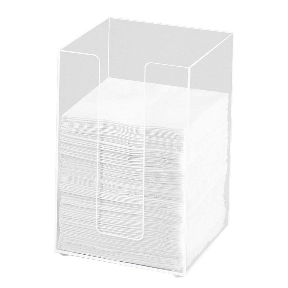 "Cal-Mil 635-12 5.5"" Square Napkin Holder for 5"" Napkins, Clear Acrylic"