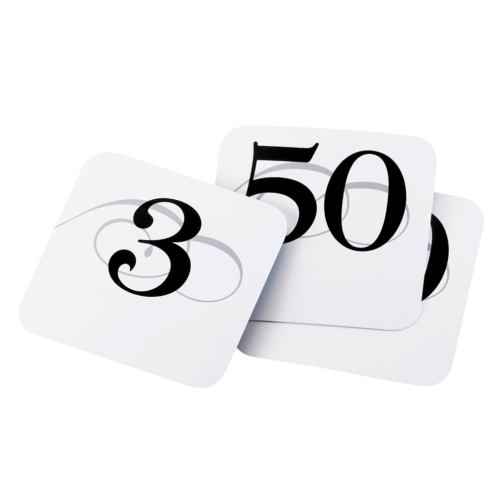 """Cal-Mil 671-2 Tabletop Number Cards - #51-100, 3.75"""" x 4"""", White/Black"""