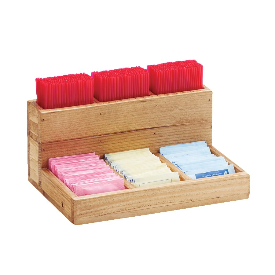 """Cal-Mil 796-99 6-Compartment Condiment Organizer - 9"""" x 6.25"""" x 4.5"""", Reclaimed Wood"""