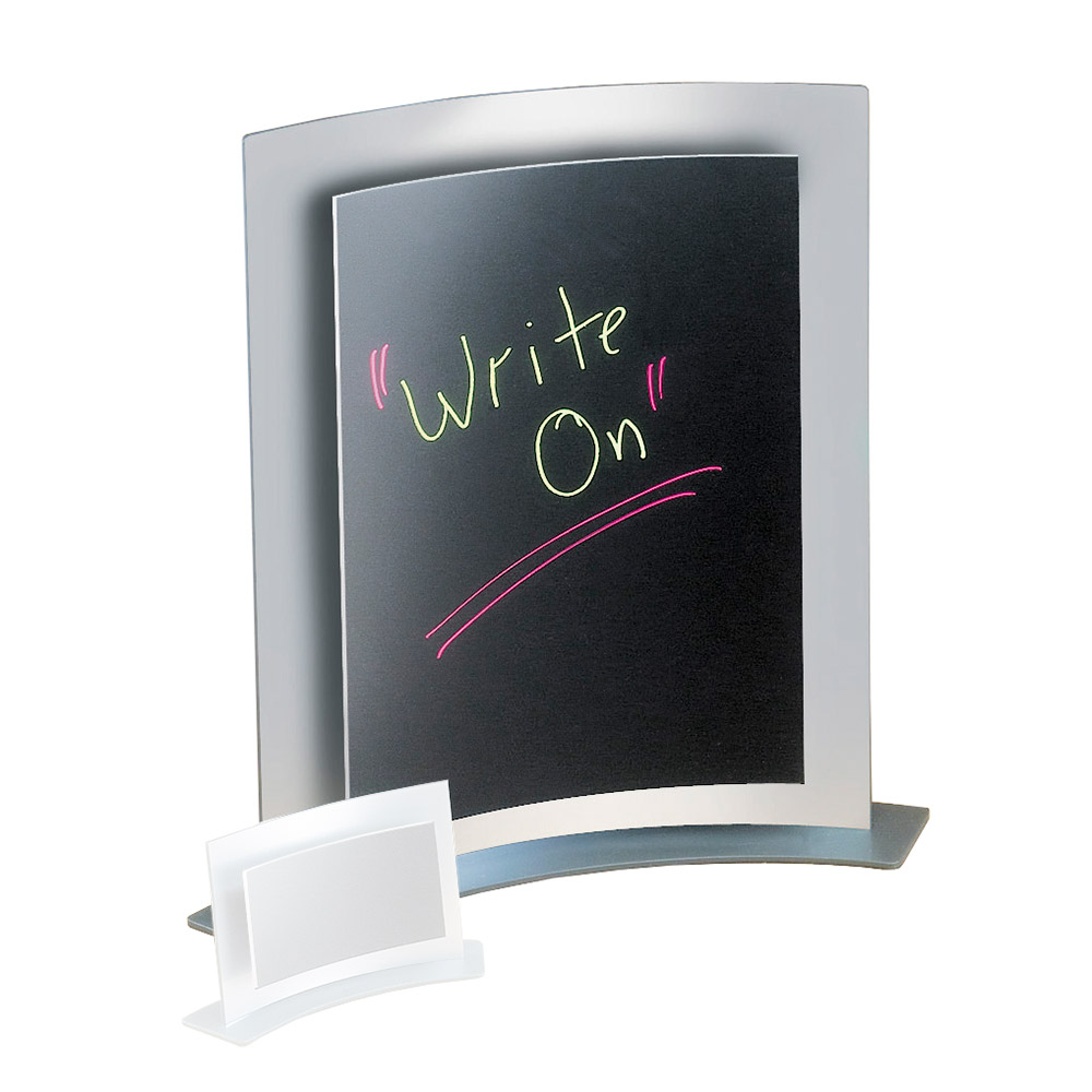 "Cal-Mil 828 Tabletop Menu Card Holder - 8.5"" x 11"", Silver"