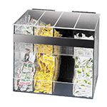 Cal-Mil 866 4-Section Condiment Pack Dispenser, Clear w/ Black Plastic Back