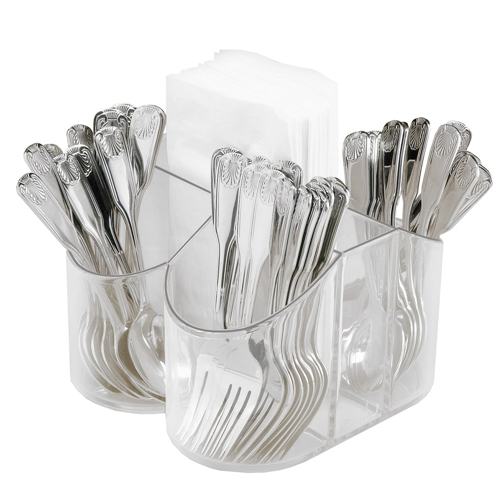 "Cal-Mil 910 Clear Plastic Silverware & Napkin Caddy, 8 x 8 x 5"" High"