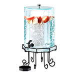 Cal-Mil 932-2 2-Gallon Octagon Beverage Dispenser w/ Ice Chamber & Black Base