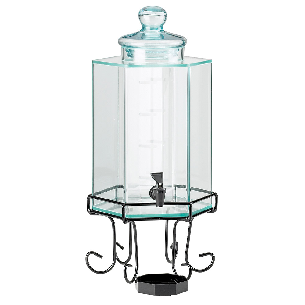Cal-Mil 932-3 3-Gallon Octagon Beverage Dispenser w/ Ice Chamber & Black Base