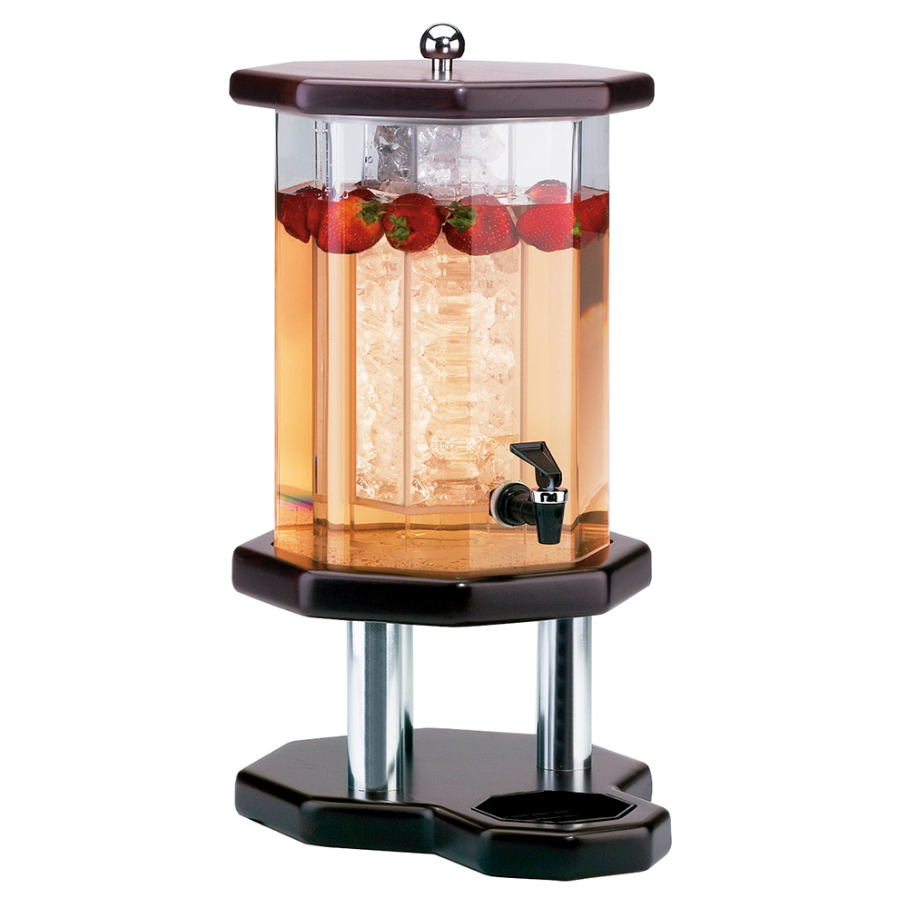 Cal-Mil 972-2-52 2-Gallon Octagon Beverage Dispenser w/ Ice Chamber, Dark Wood Base