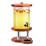 Cal-Mil 972-3-53 3-Gallon Octagon Beverage Dispenser w/ Ice Chamber, Light Wood Base