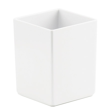 "Cal-Mil C1432BODYC Write-on 4"" White Melamine Jar - Square, 12 oz."