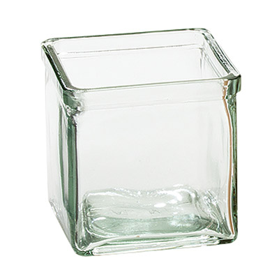 Cal-Mil C4X4GLCN Recycled Glass Jar, 4 x 4 x 4""