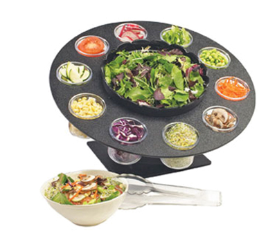 Cal-Mil 1014 18-in Revolving Salad Server w/ Bowl & (10) 3-in Ingredient Cups