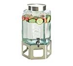 Cal-Mil 1111-55 2-gal Hexagon Beverage Dispenser - Lid, Spigot, Glass, Stainless Steel