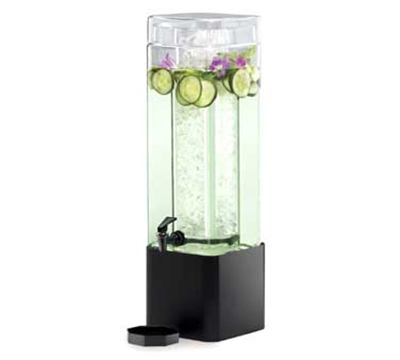 Cal-Mil 1112-3-13 3-Gallon Square Glass Beverage Dispenser w/ Black Metal Base
