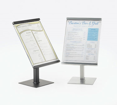 "Cal-Mil 1153-15-74 15"" Freestanding Menu/Sign Holder - 8"" x 11"", Silver"