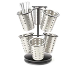 Cal-mil 1227-13 6-Ring Cutlery Holder w/ Revolving Black Base, 12 x 15.25-in High