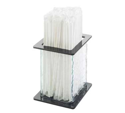 Cal-Mil 1228-4 4.75-in Square Straw Holder w/ Faux Glass Body, Black Top & Bottom