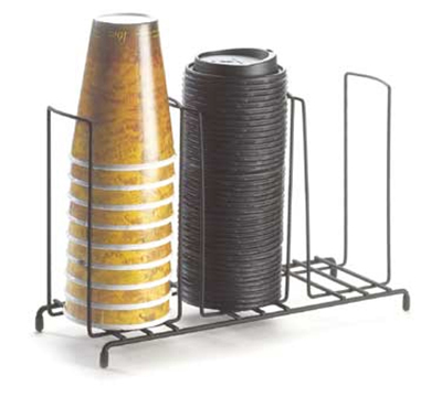 """Cal-Mil 1229 Cup & Lid Organizer w/ (3) 4"""" Slots & Black Wire Frame"""