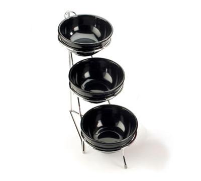 "Cal-Mil C1223-8 Tiered Bowl Rack w/ Chrome Frame & (3) 8"" Rings"