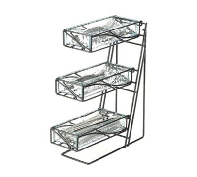 Cal-Mil 1235-39-60 3-Tier Flatware Display - Bamboo Bins, Platinum Finish Wire Frame