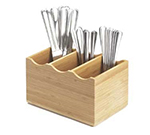Cal-Mil 1244 Bamboo Cutlery Holder w/ 3-Slots, 8.25 x 5.5 x 4.75-in High