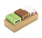 "Cal-Mil 1246 Bamboo Packet & Condiment Holder w/ 3-Slot, 9.5 x 4.75 x 2"" High"