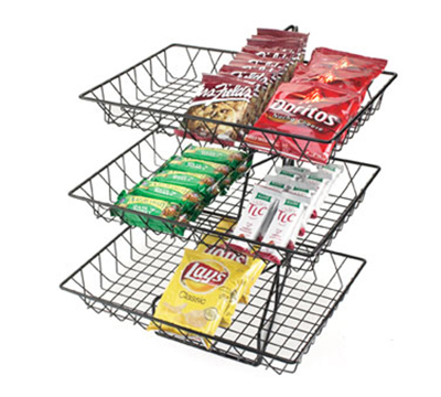 """Cal-Mil 1291-3 3-Tier Display & Server Stand w/ Wire Baskets, 18 x 22"""" H, Black"""