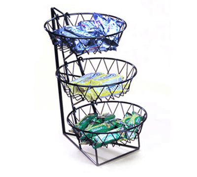 Cal-Mil 1292-3 3-Tier Display Rack w/ 12-in Round Wire Baskets, Black Wire
