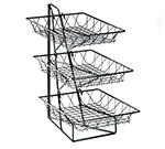 Cal-Mil 1293-3 3-Tier Display Rack w/ 12-in Square Wire Baskets, Black Wire