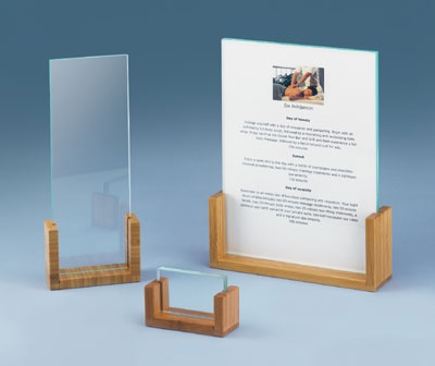 Cal-Mil 1510-46-60 Menu & Card Holder w/ U Frame & Bamboo Base, 4 x 6-in High