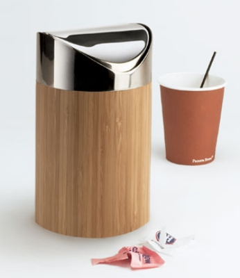 Cal-Mil 1717-60 Countertop Trash Can w/ Bamboo Body & Stainless Top, 5 x 7-in High