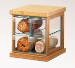 Cal-Mil 1718-60 4-Drawer Bread Case w/ Bamboo Frame & Green Glass, Acrylic Body
