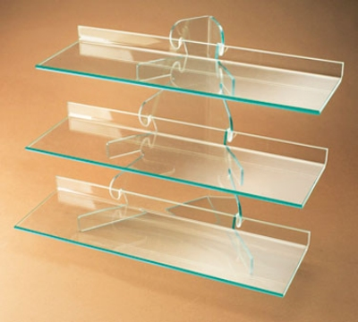 Cal-Mil 1743 3-Tier Display w/ Removable Shelves, Green Edge Acrylic