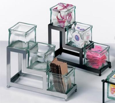 Cal-mil 1803-4-49 3-Step Coffee Amenities Holder w/ Square Green Glass Jars, Chrome