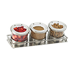Cal-Mil 1850-5-55HL Rectangular Mixology Condiment Display - 32-oz Jars, Hinged Lids, Stainless Steel
