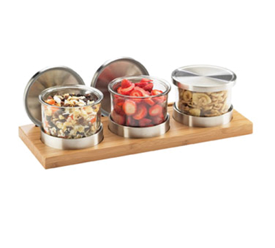 Cal-Mil 1850-4-60 3-Tier Rectangular Mixology Condiment Display - 16-oz Jars, Bamboo