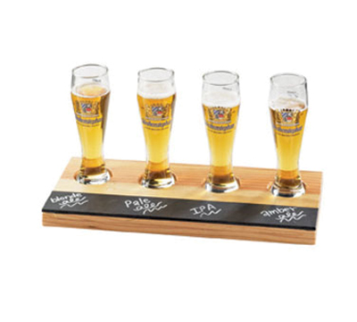 Cal-mil 2063 Rectangular Write-On Tray Beer Flight - Natural Wood