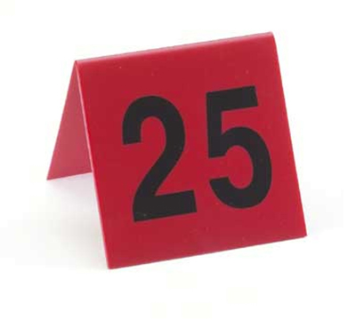 Cal-mil 226-2 Table Tent Set, Numbers 51 Through 75, Red w/ Black Numbers