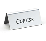 "Cal-Mil 228-1-010 ""Coffee"" Table Tent Sign - 1.5"" x 3"", Silver"