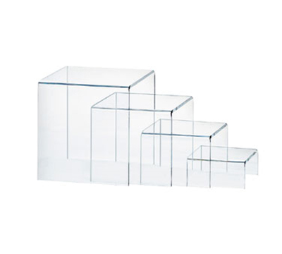 Cal-Mil 238 4-Display Risers w/ (1)-Each 8-in H, 6-in H, 4-in H & 2-in H, Clear