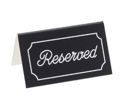 "Cal-Mil 273-2 ""Reserved"" Table Tent Sign - 3"" x 5"", Black/White"