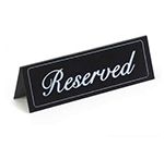 """Cal-Mil 285 """"Reserved"""" Table Tent Sign - 2"""" x 5.75"""", Black/White"""