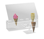 Cal-Mil 396 Waffle Cone Pedestal w/ 4-Holes & 2-in Diam Hole Size, Clear