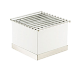 "Cal-mil 3011-55 Luxe Chafer Alternative - 12x12x8-1/4"", White, Stainless Steel"
