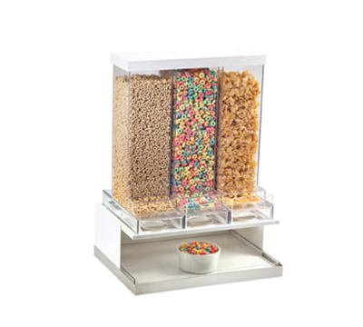 Cal-mil 3019-55 3-Compartment Luxe Cereal Dispenser - White, Stainless Steel